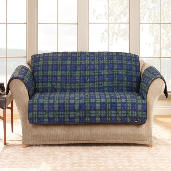 Deluxe Comfort Plaid Loveseat Slipcover