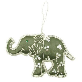 Handcrafted Gray Sequined Elephant Ornament (India)