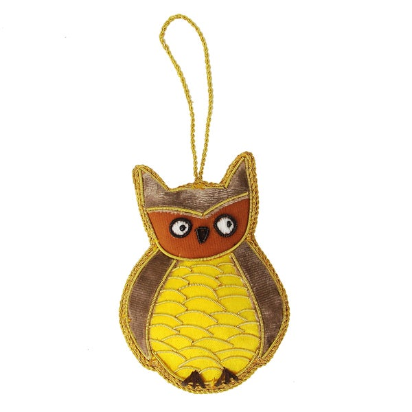 Handcrafted Embroidered Owl Ornament (India)