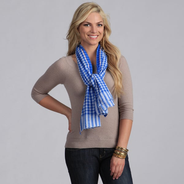 Classic Blue Checkered Cotton Scarf