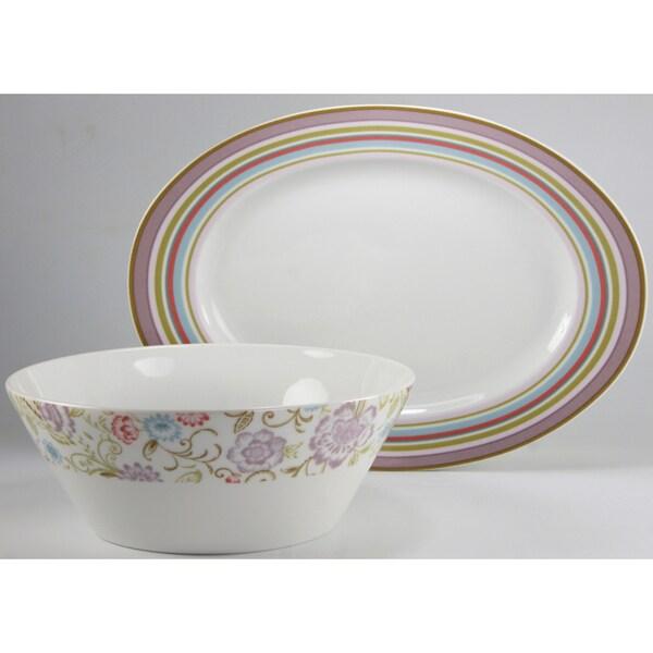 Create a Table European Two-Piece Oriental Decor Fine Porcealin Completer/Serving Set