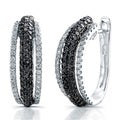 14k White Gold 1 5/8ct TDW Black and White Diamond Earrings (I-J, I1-I2)