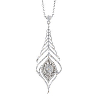 Sterling Silver 1/4ct TDW Diamond Feather Necklace (J-K, I2-I3)