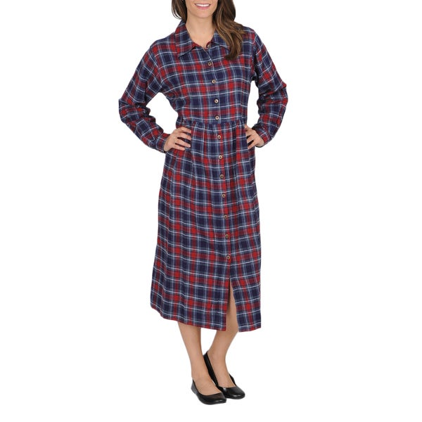 La Cera Women's Plaid Flannel Button-front Dress 10360756