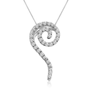 New! 14k White Gold 1/3ct TDW Diamond Swirl Fashion Necklace (I-J, I1-I2)