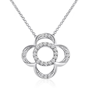 10k White Gold 1/4ct TDW Diamond Flower Necklace (I-J, I1-I2)