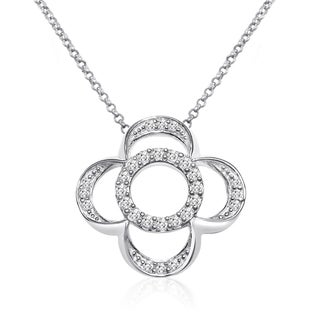 10k White Gold 1/4ct TDW Diamond Circle Flower Necklace