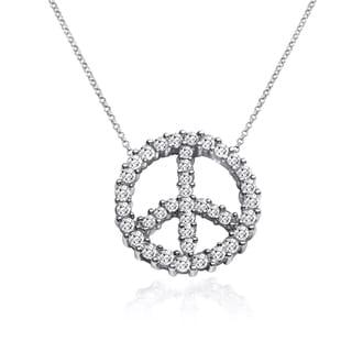 10k White Gold 1/4ct TDW Diamond Peace Symbol Necklace (I-J, I1-I2)