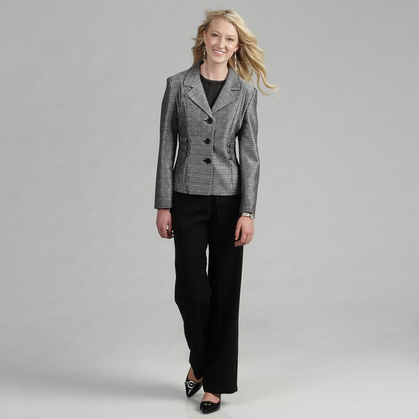 Danillo Women's 3-Button Tweed Print Jacket and Pant Suit