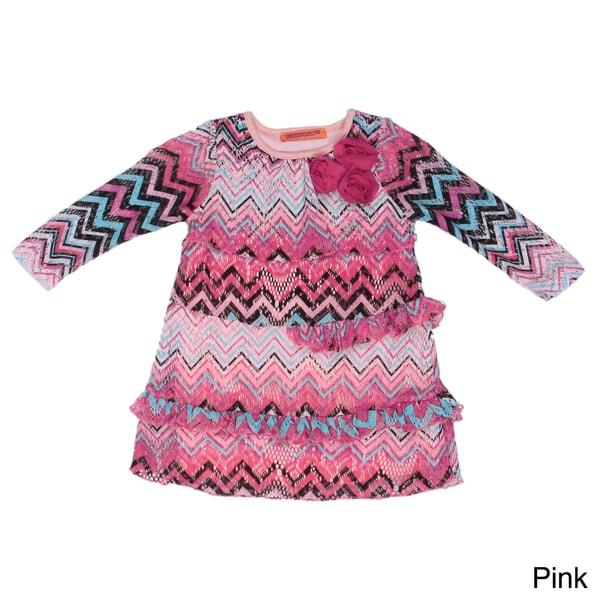 Funkyberry Girl's Purple Pattern Long Sleeve Dress