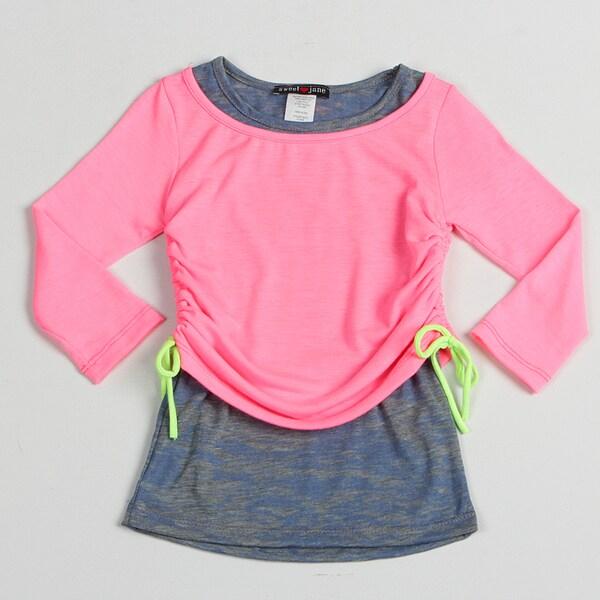 Sweetheart Jane Girl's Neon Pink Adjustable Long Sleeve Top