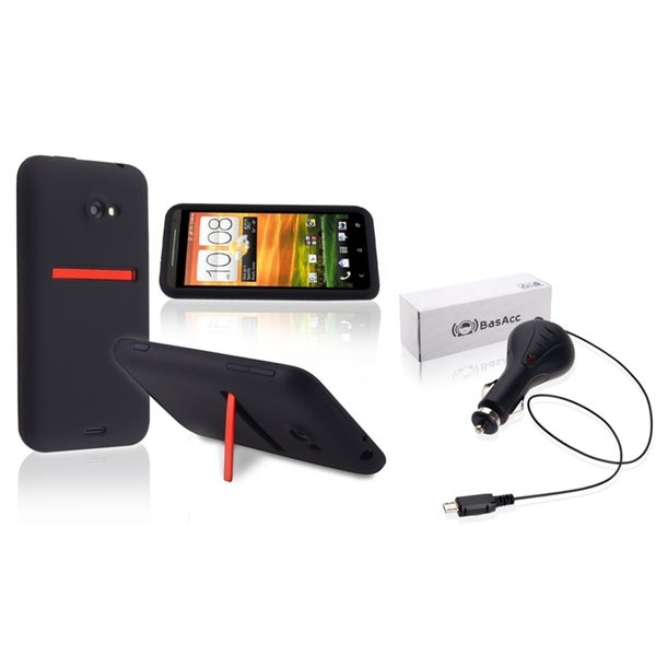 INSTEN Soft Silicone Phone Case Cover/ Retractable Car Charger for HTC EVO 4G LTE