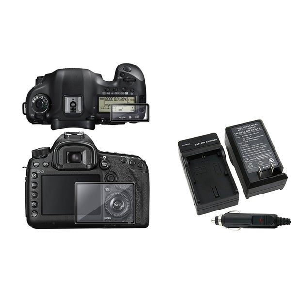 INSTEN Glass Screen Protector/ Charger Set for Canon EOS 5D Mark III