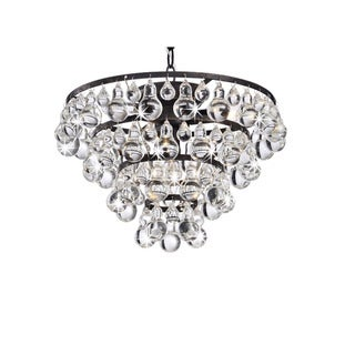 Tranquil Antique Copper 4-Light Chandelier with Smooth Crystals