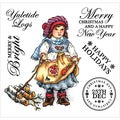 "Paintbox Poppets Winter EZMount Stamps 4.75""x4.75""-Yuletide Logs"