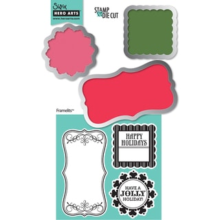 Sizzix Framelits Dies 3/Pkg With Cling Stamps-Tags