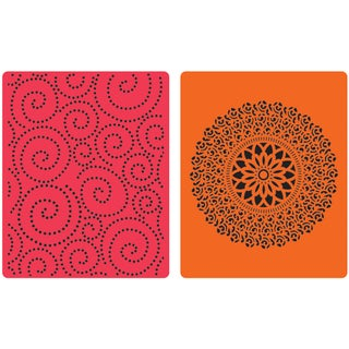 Sizzix Textured Impressions Embossing Folders 2/Pkg-Hero Arts Dot Swirl & Medallion
