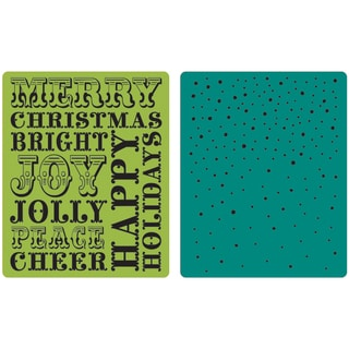 Sizzix Textured Impressions Embossing Folders 2/Pkg-Hero Arts Christmas Words & Dots