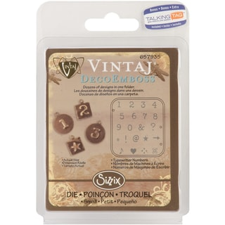 "Sizzix DecoEmboss Embossing Folder 2.725""X2.375"" by Vintaj-Typewriter Numbers"