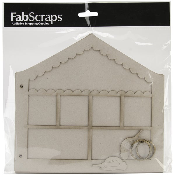 "Enchanted Gardens Die-Cut Grey Chipboard Album 8""X9""-Doll House/2 Birds: Cover, 5pgs, 2 Rings"