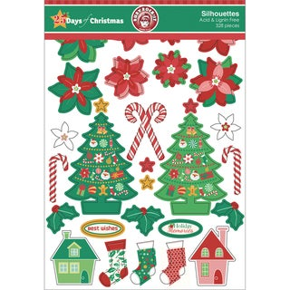 25 Days Of Christmas Silhouettes Die-Cuts 328/Pkg-Assortment Of Printed, Kraft & Glitter