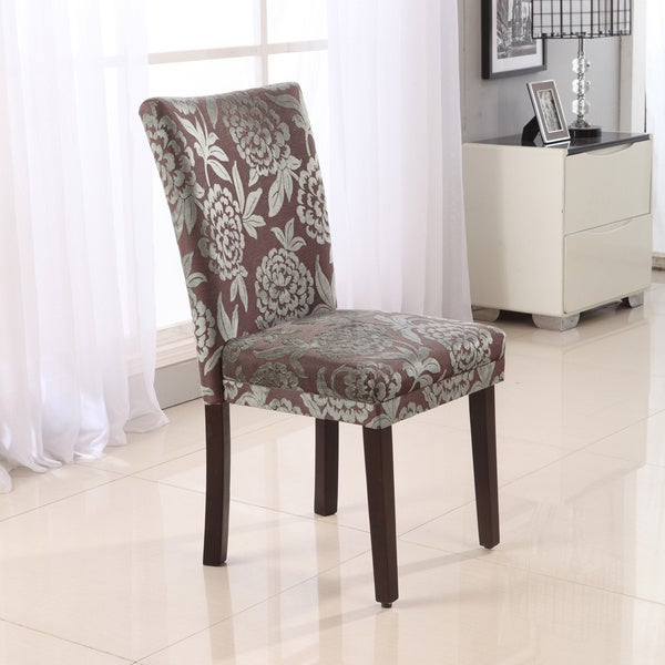 Classic Parson Purple/ Green Damask Dining Chairs (Set of 2)
