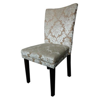 Classic Parson Beige Damask Dining Chairs (Set of 2)