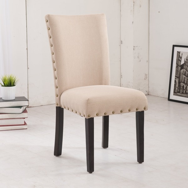 Classic Creamy Beige Parson Dining Chairs (Set of 2)