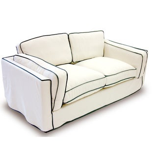 Modern Cream/ Black Slipcover Loveseat