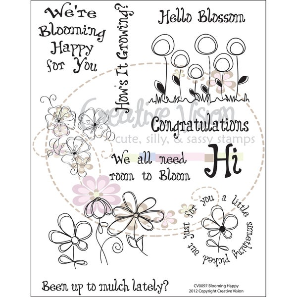 "Clear Stamps 6""X8""-Blooming Happy"