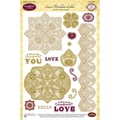 "JustRite Stampers 6""x8"" Clear Stamp Set-Lace Medallion Labels 15pc"