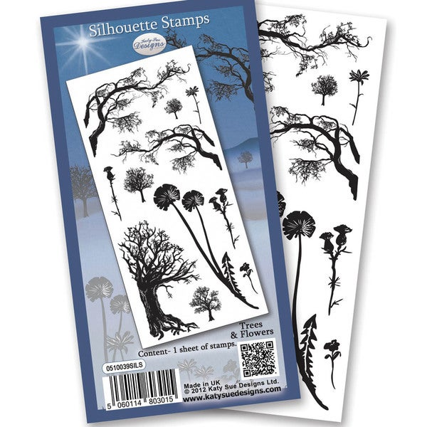 "Flower Soft Silhouette Clear Stamps 4""X6"" Sheet-Trees"