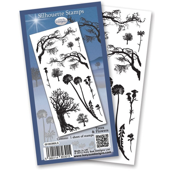 """Flower Soft Silhouette Clear Stamps 4""""X6"""" Sheet-Trees"""