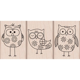 Hero Arts Mounted Rubber Stamp Set-Owl Trio