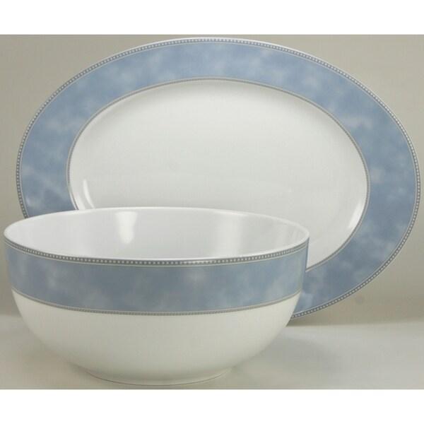 French Home European 2-piece Fine Porcelain Avado Floral Decor Completer / Serving Set