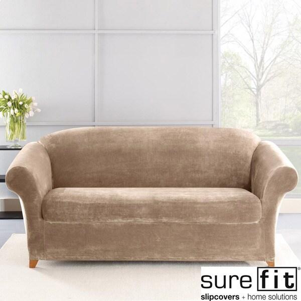 Sure Fit Stretch Plush Sable Sofa Slipcover 14975973