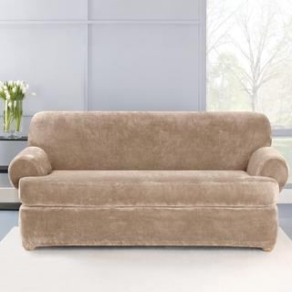 Stretch Plush Sable T-Cushion Loveseat Slipcover