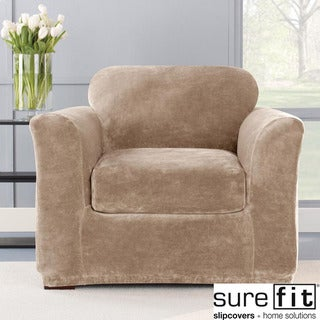 Stretch Plush Sable Chair Slipcover