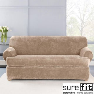 Stretch Plush Sable T-Cushion Sofa Slipcover