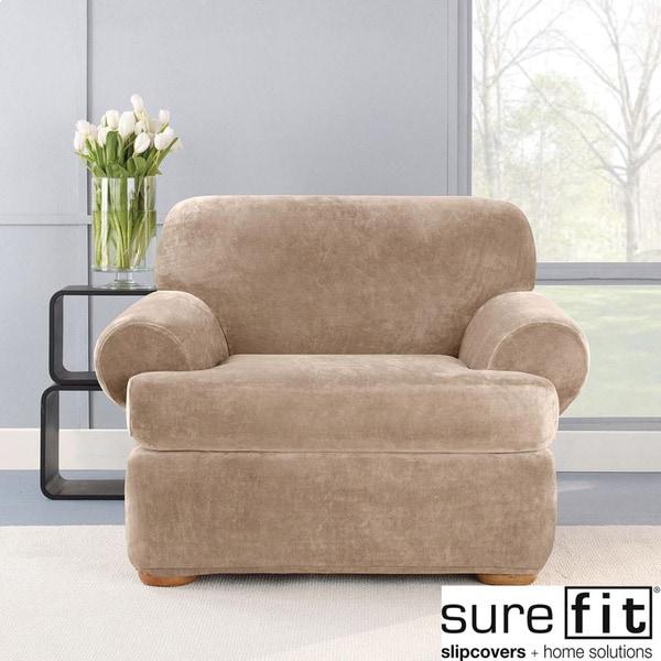 Stretch Plush Sable T-Cushion Chair Slipcover
