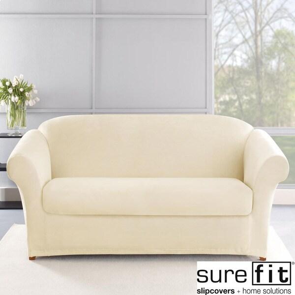 Stretch Plush Cream Sofa Slipcover