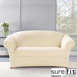 Stretch Plush Cream Loveseat Slipcover