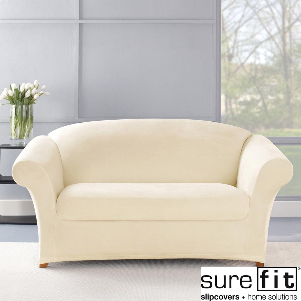 Stretch Plush Cream Loveseat Slipcover Overstock Shopping Big Discounts On Sure Fit Loveseat