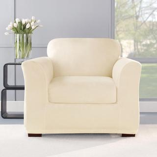 Stretch Plush Cream Chair Slipcover