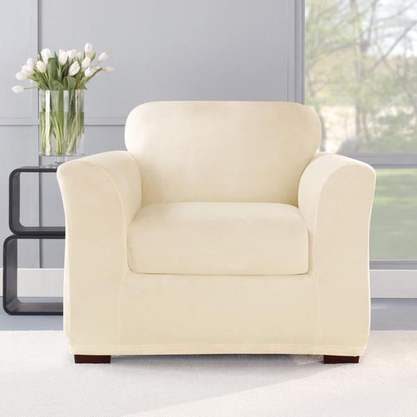 Stretch Plush Cream Chair Slipcover