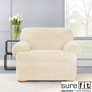 Stretch Plush Cream T-Cushion Chair Slipcover