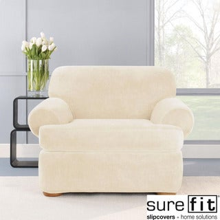 Sure Fit Stretch Plush Cream T-Cushion Chair Slipcover