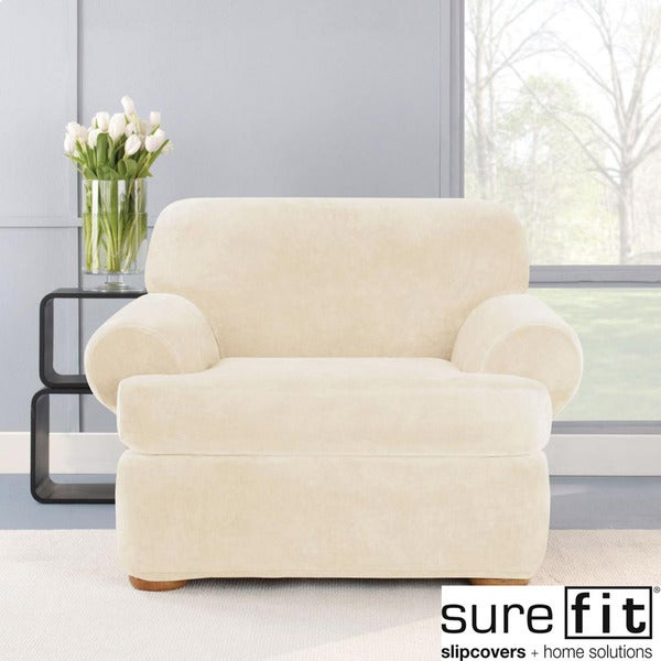 Stretch Plush Cream T Cushion Chair Slipcover