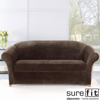 Stretch Plush Chocolate Sofa Slipcover