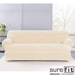 Sure Fit Stretch Plush Cream T-Cushion Sofa Slipcover